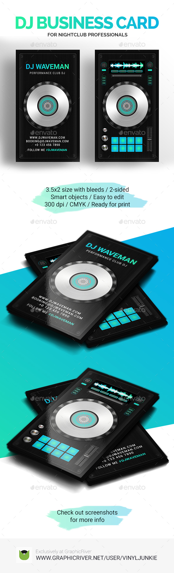Digital DJ Business Card PSD Template - Industry Specific Business Cards