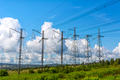 Row of the high voltage transmission towers - PhotoDune Item for Sale