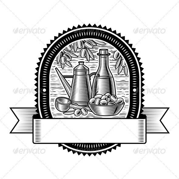 Retro Olive Harvest Label Black And White - Decorative Symbols Decorative