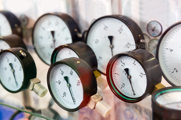 Manometers, pressure gauges, plumbing equipment - Stock Photo - Images