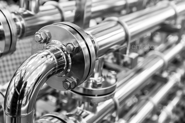 Steel water pipeline, chrome pipes, closeup - Stock Photo - Images