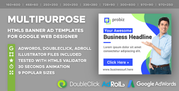 Probiz - Multipurpose HTML5 Banner Ad Templates (GWD) - CodeCanyon Item for Sale