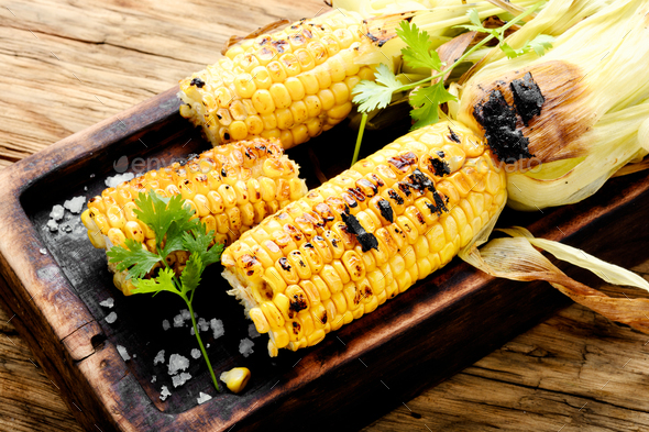 Corn grilled with salt - Stock Photo - Images