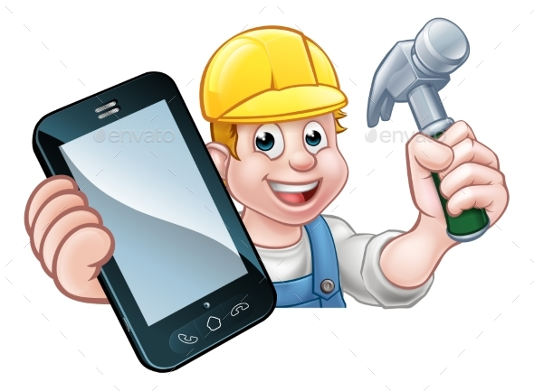 Carpenter Handyman Phone Concept - People Characters