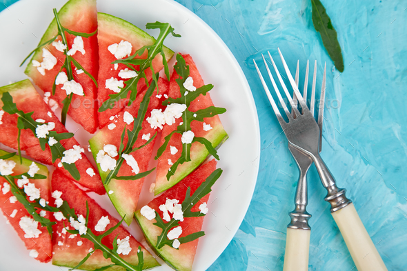 Fresh summer watermelon salad - Stock Photo - Images