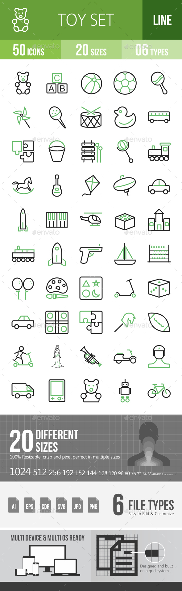 50 Toy Set Green & Black Line Icons - Icons