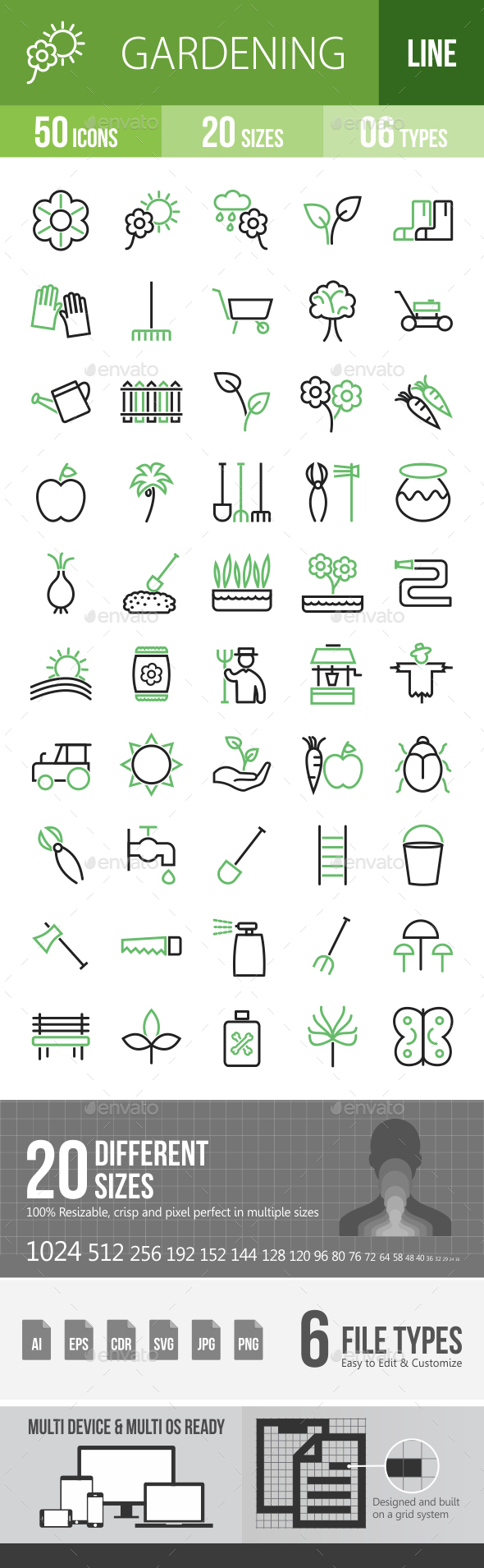 50 Gardening Green & Black Line Icons - Icons