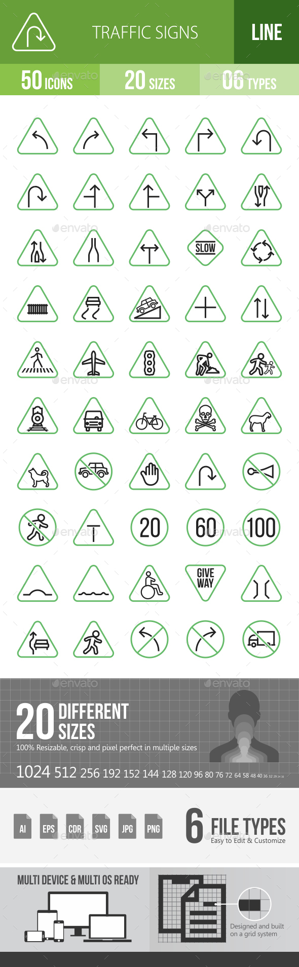 50 Traffic Signs Green & Black Line Icons - Icons