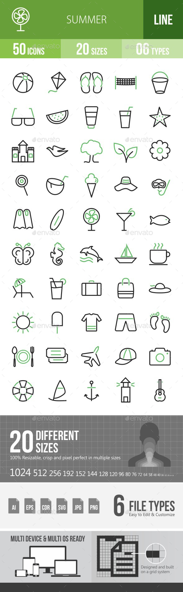 50 Summer Green & Black Line Icons - Icons
