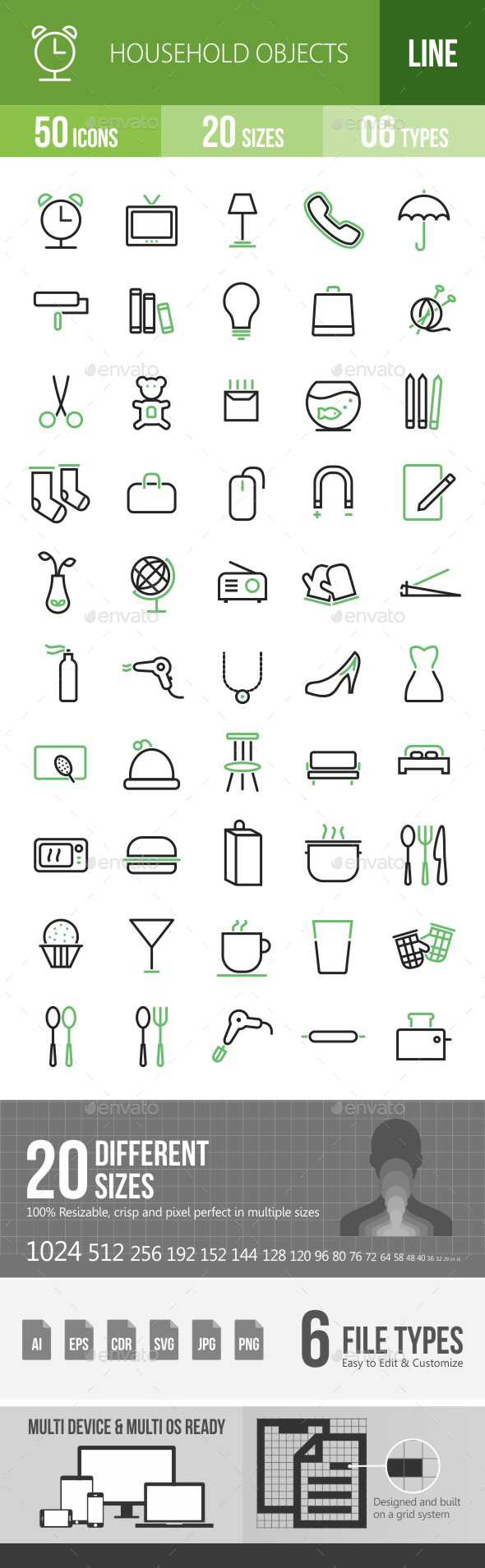 50 Household Objects Green & Black Line Icons - Icons