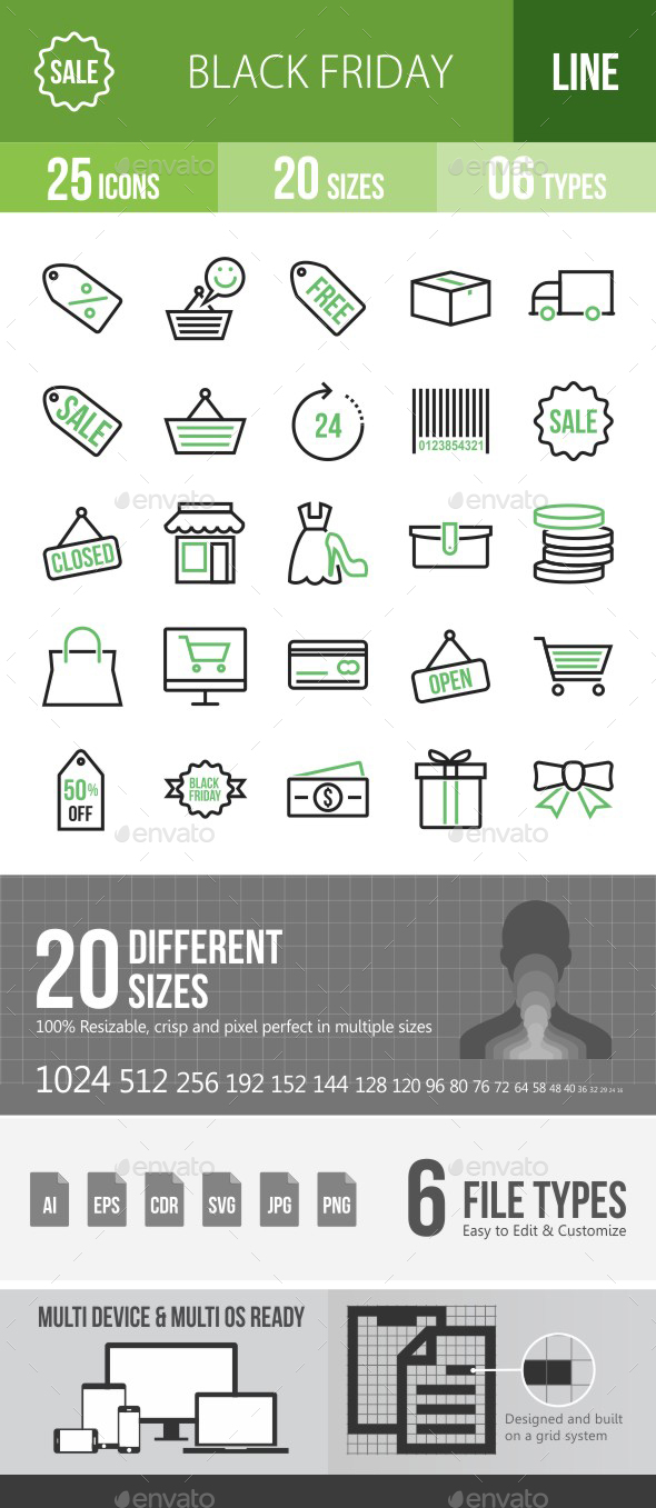 25 Black Friday Green & Black Line Icons - Icons