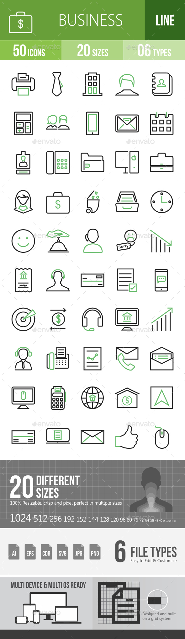 50 Business & Finance Green & Black Line Icons - Icons