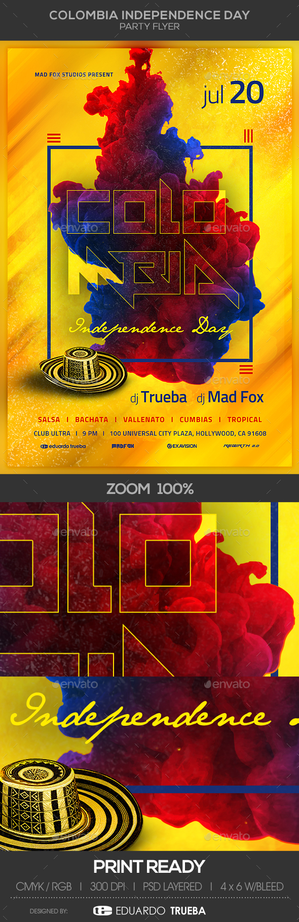 Colombia Independence Day Party Flyer - Clubs & Parties Events