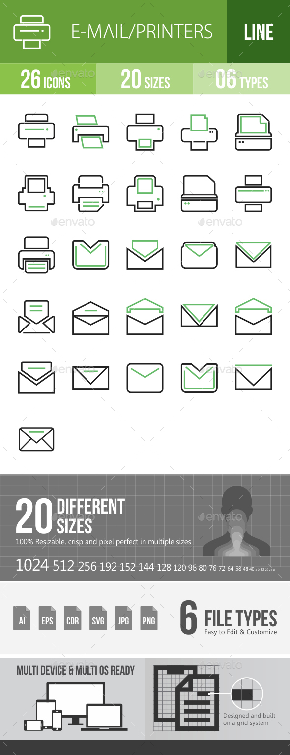 26 Email & Printer Green & Black Line Icons - Icons