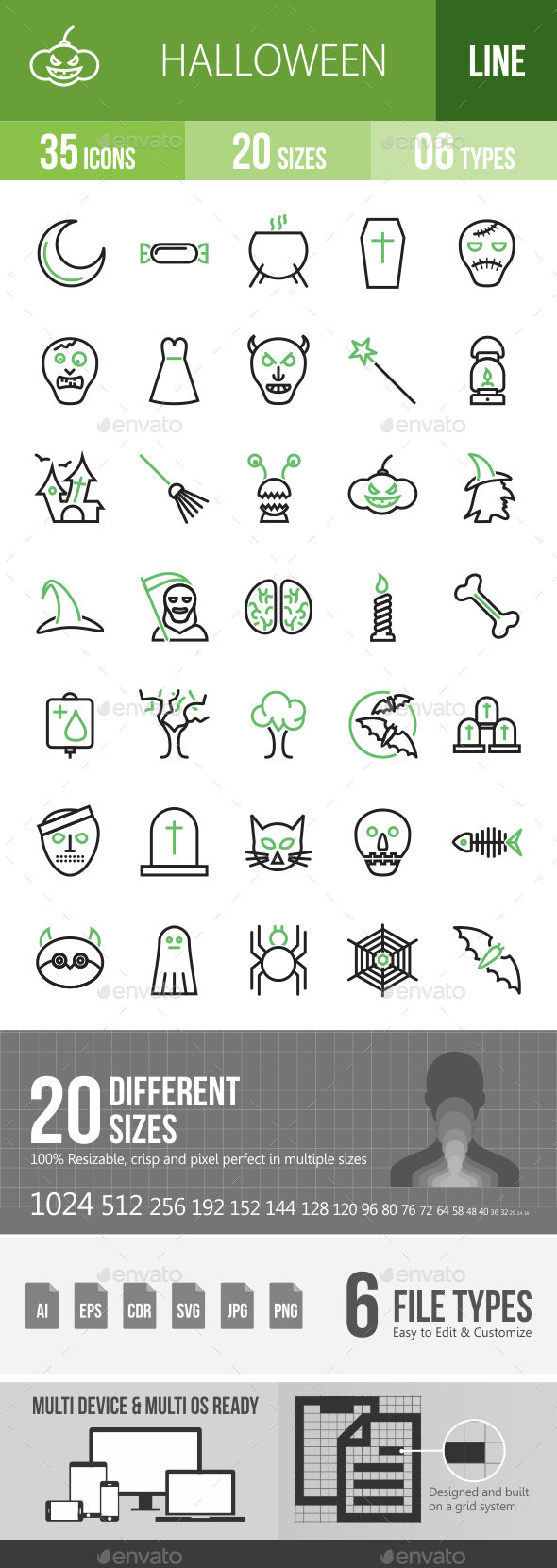 35 Halloween Green & Black Line Icons - Icons