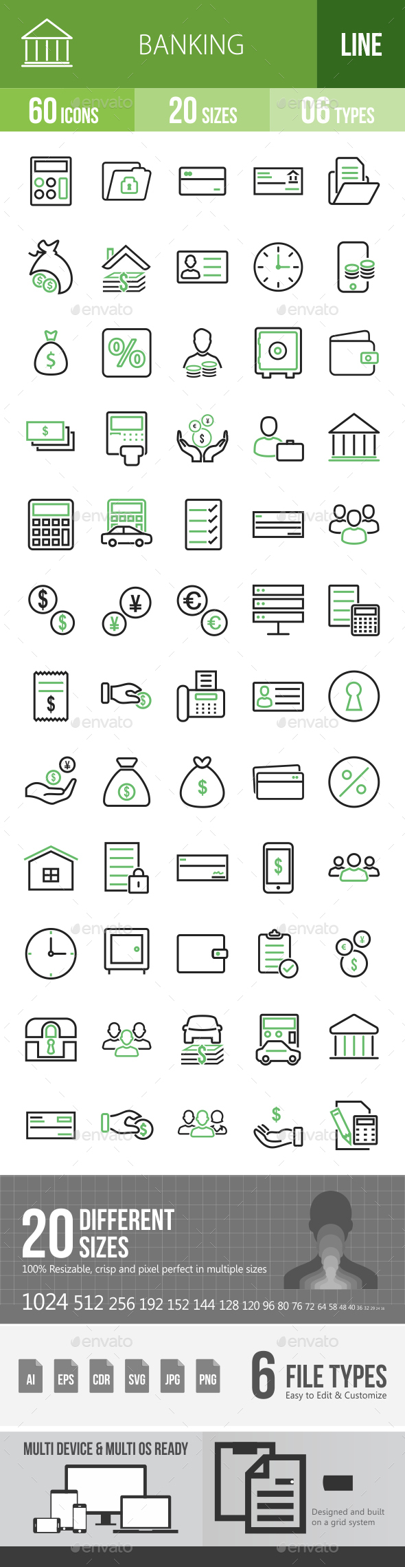 60 Banking Green & Black Line Icons - Icons