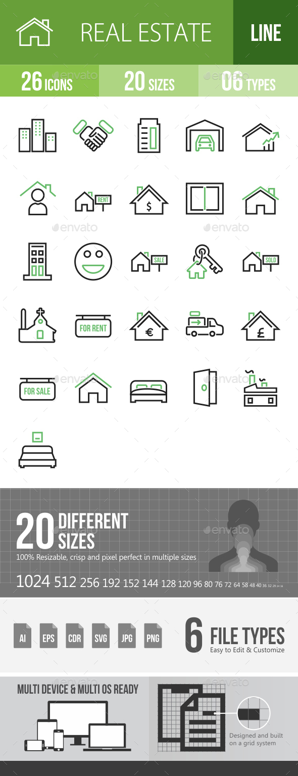 26 Real Estate Green & Black Line Icons - Icons