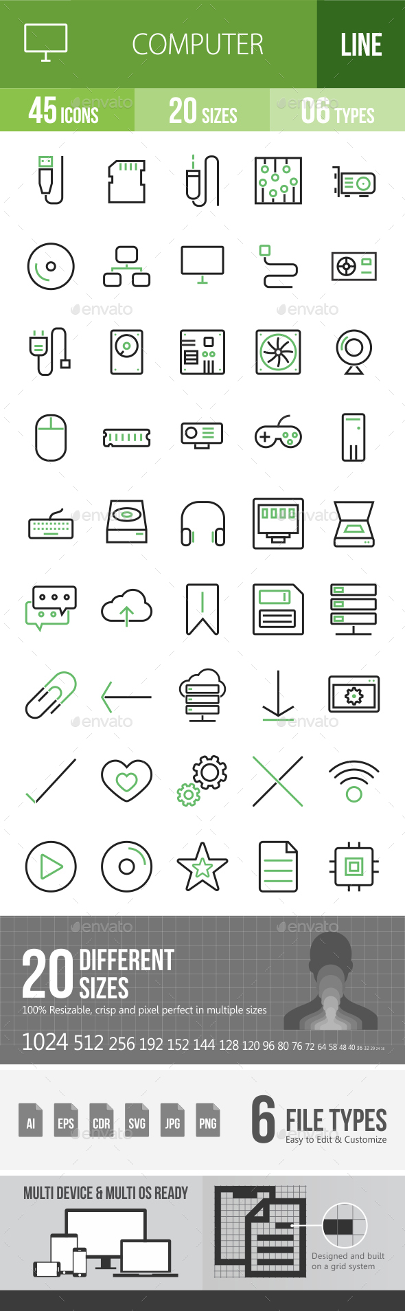 45 Computer & Hardware Green & Black Line Icons - Icons