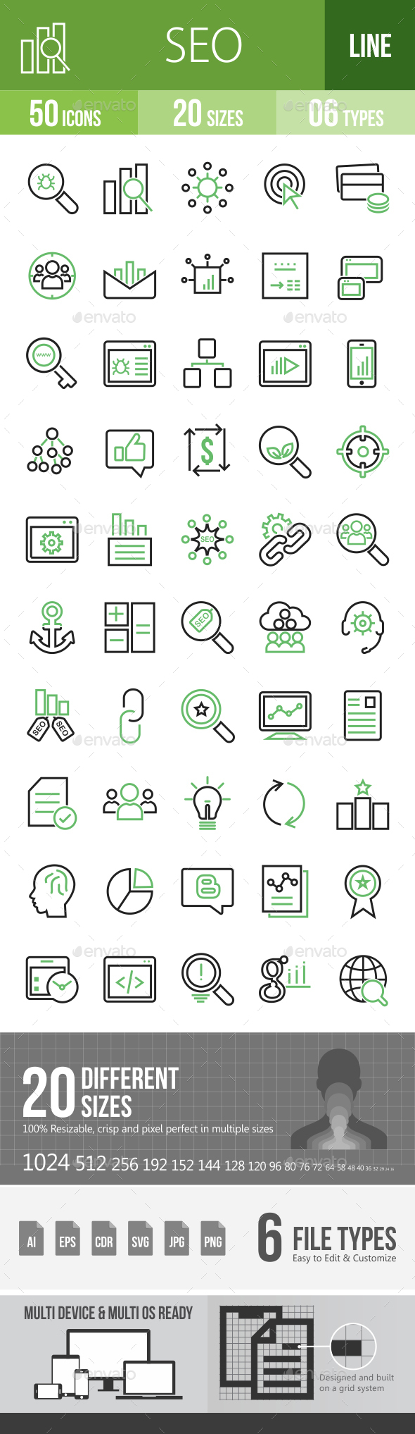 50 SEO Green & Black Line Icons - Icons