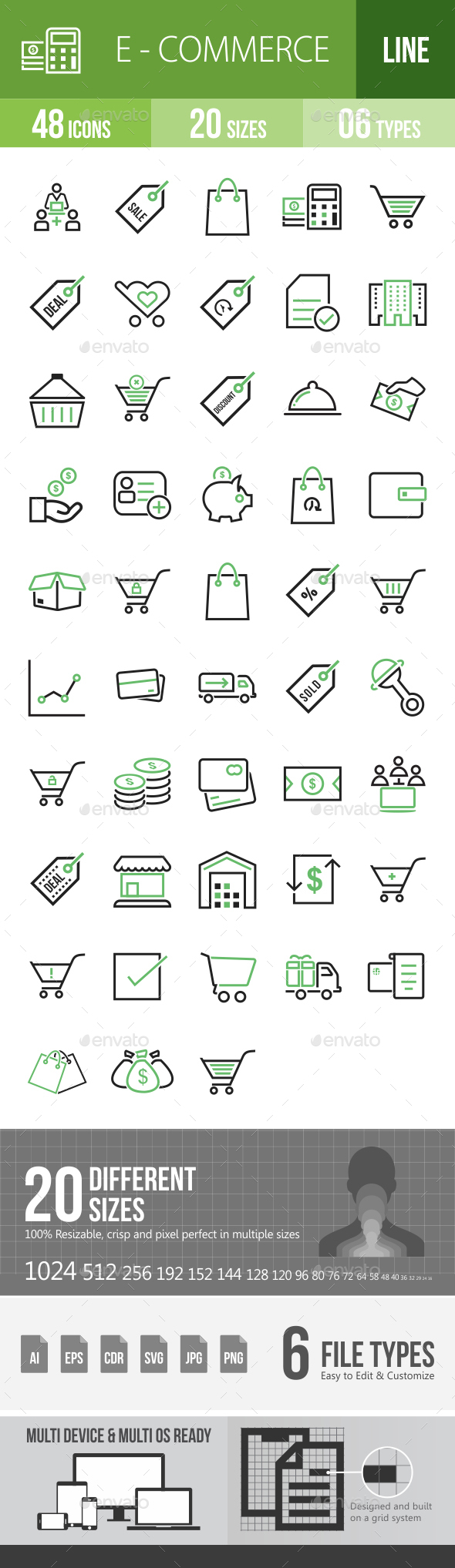 48 Ecommerce Green & Black Line Icons - Icons