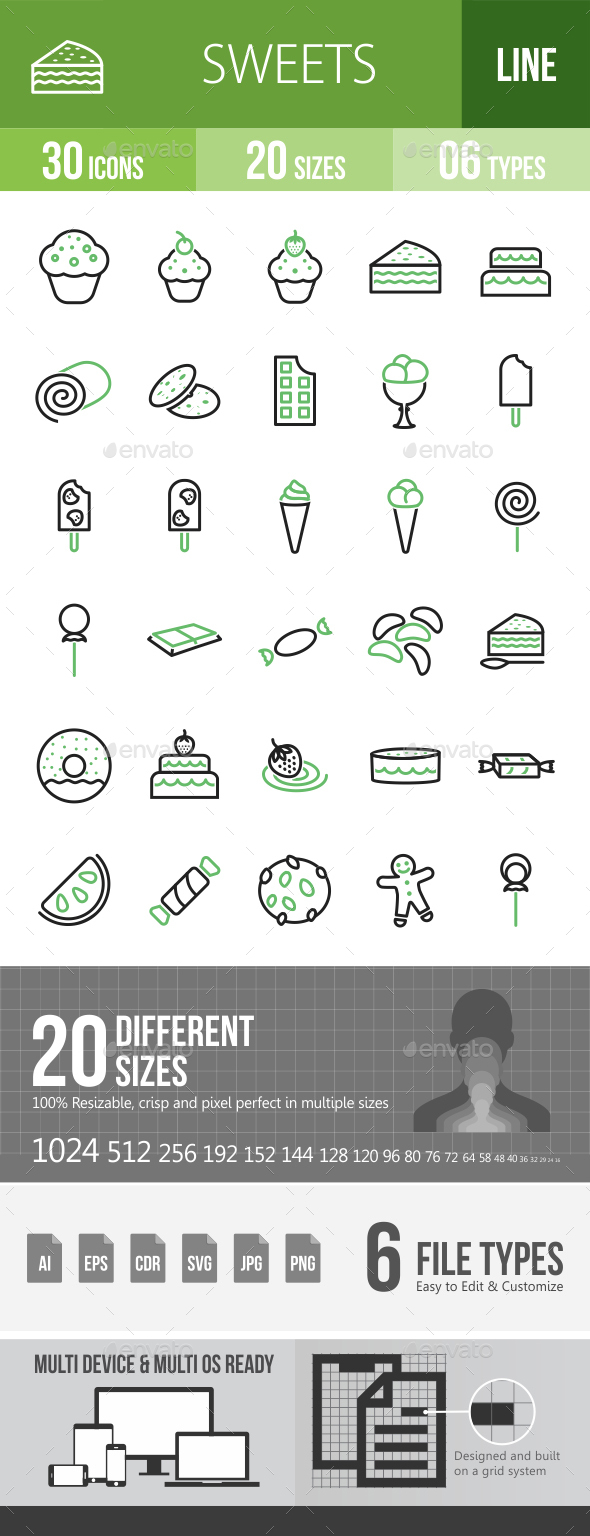 30 Sweets & Confectionery Green & Black Line Icons - Icons