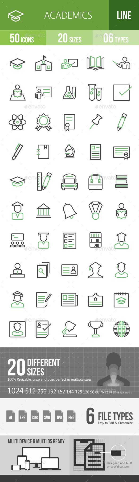 50 Academics Green & Balck Line Icons - Icons