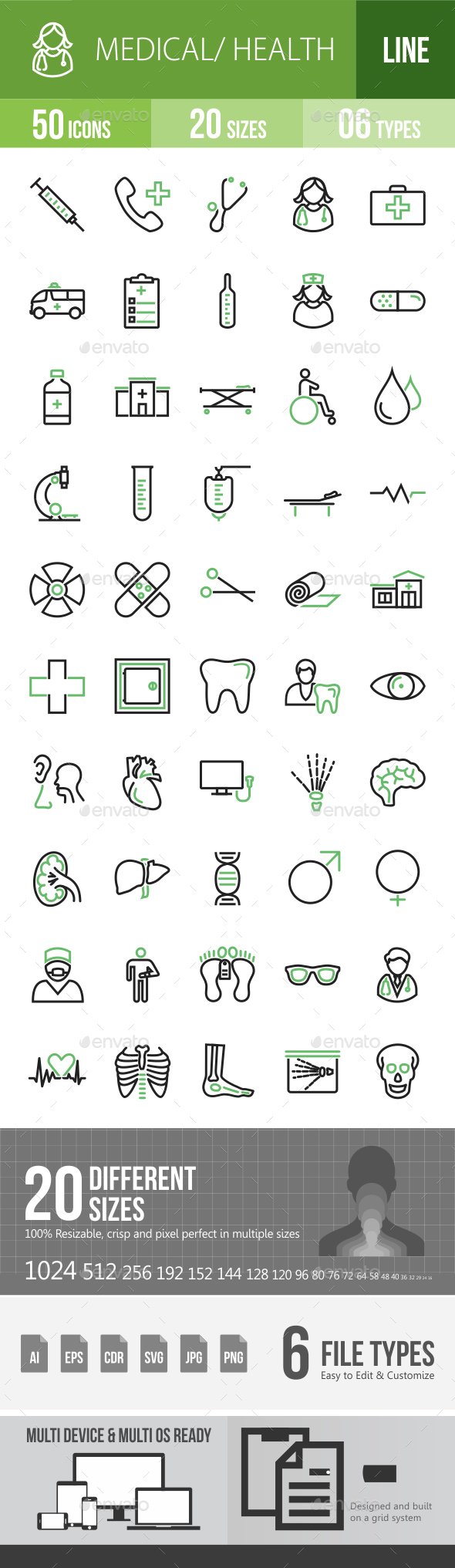 50 Medical Green & Black Line Icons - Icons