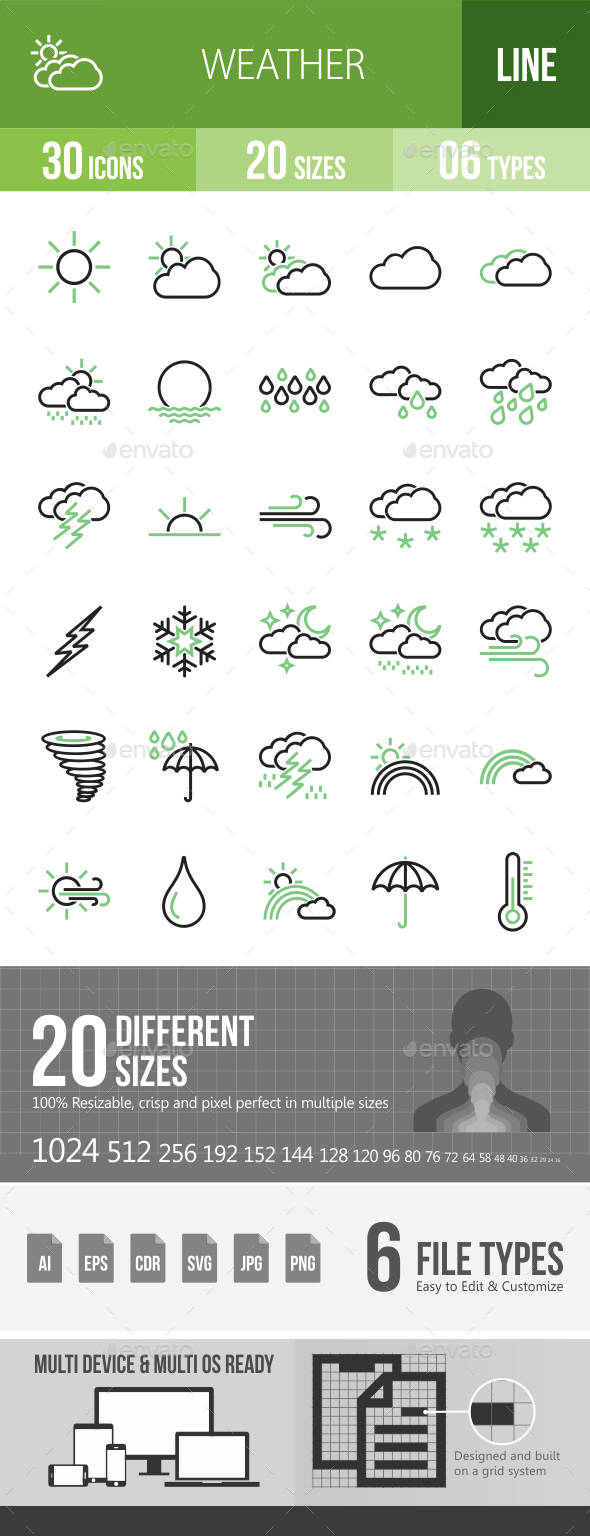 30 Weather Green & Black Line Icons - Icons