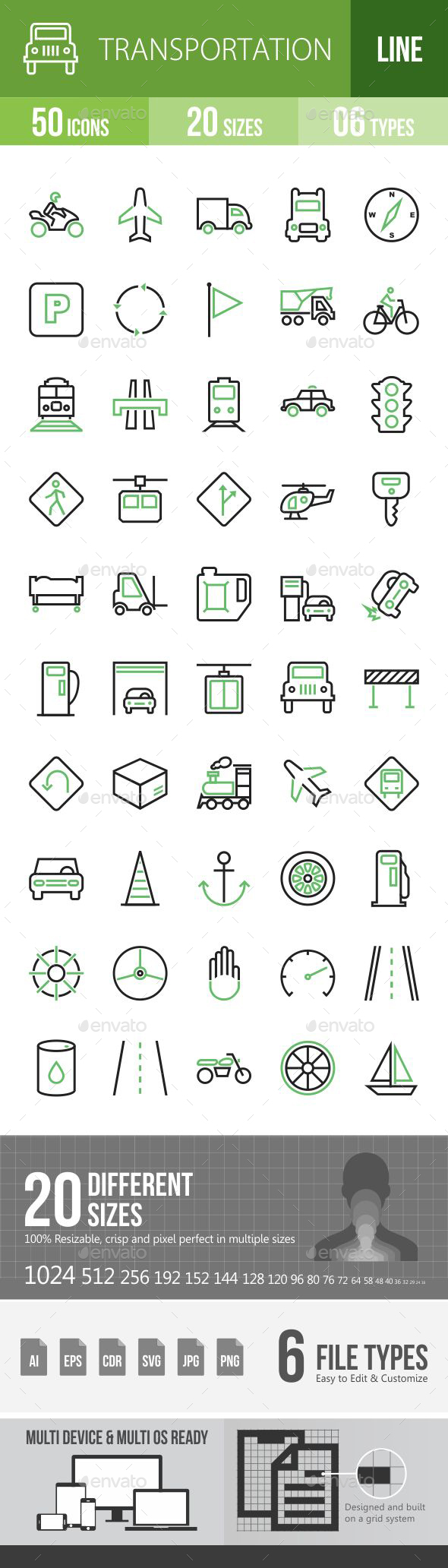 50 Transportation Green and Black Line Icons - Icons