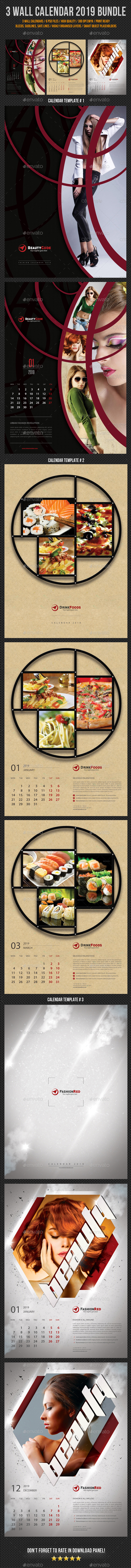 Wall Calendar 2019 Bundle V09 - Calendars Stationery