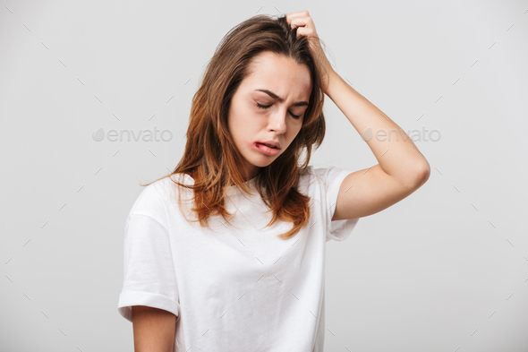 Disabled young girl with scratches and bruises on her face. - Stock Photo - Images