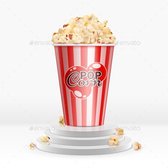 Cinema Food Popcorn in Disposable Bowl on Pedestal - Food Objects