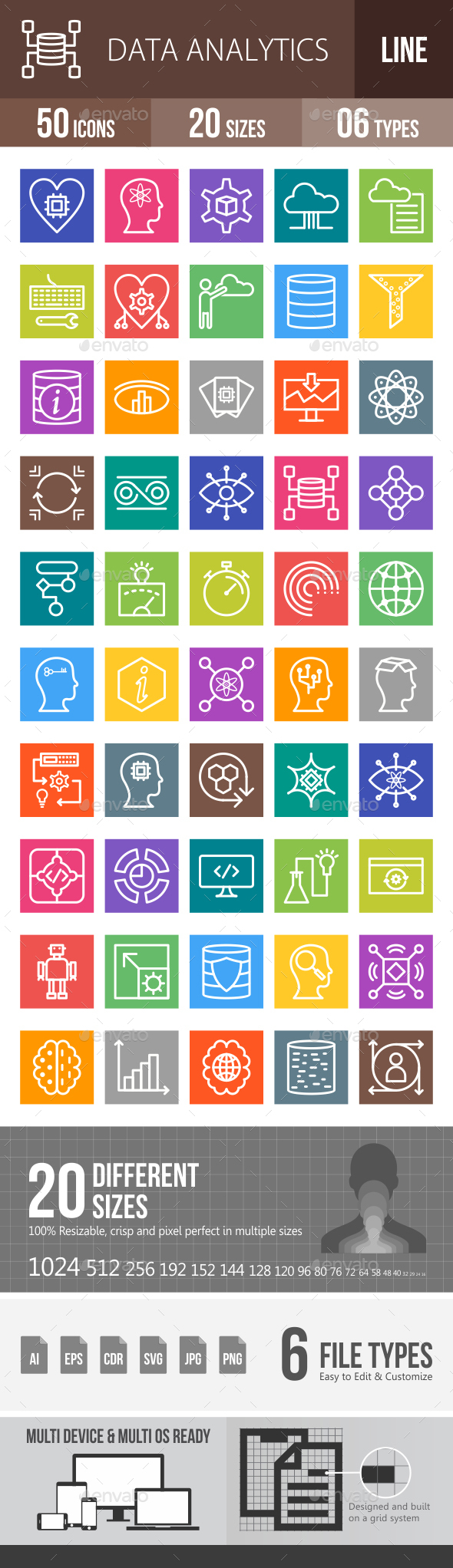 Data Analytics Line Multicolor Icons - Icons