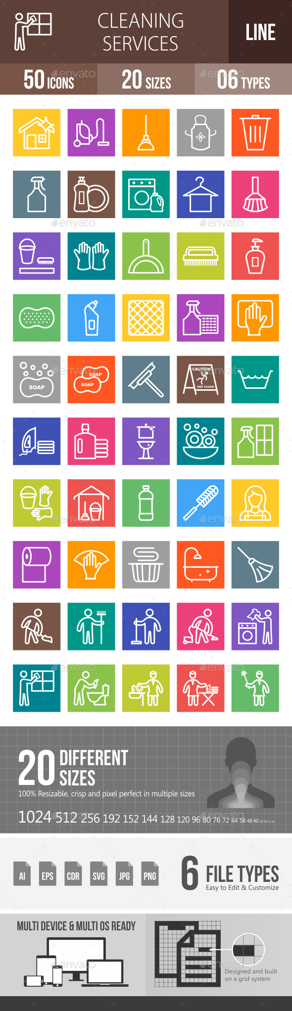 Cleaning Services Line Multicolor Icons - Icons