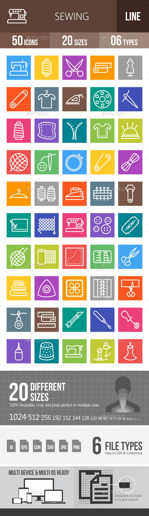 Sewing Line Multicolor Icons - Icons