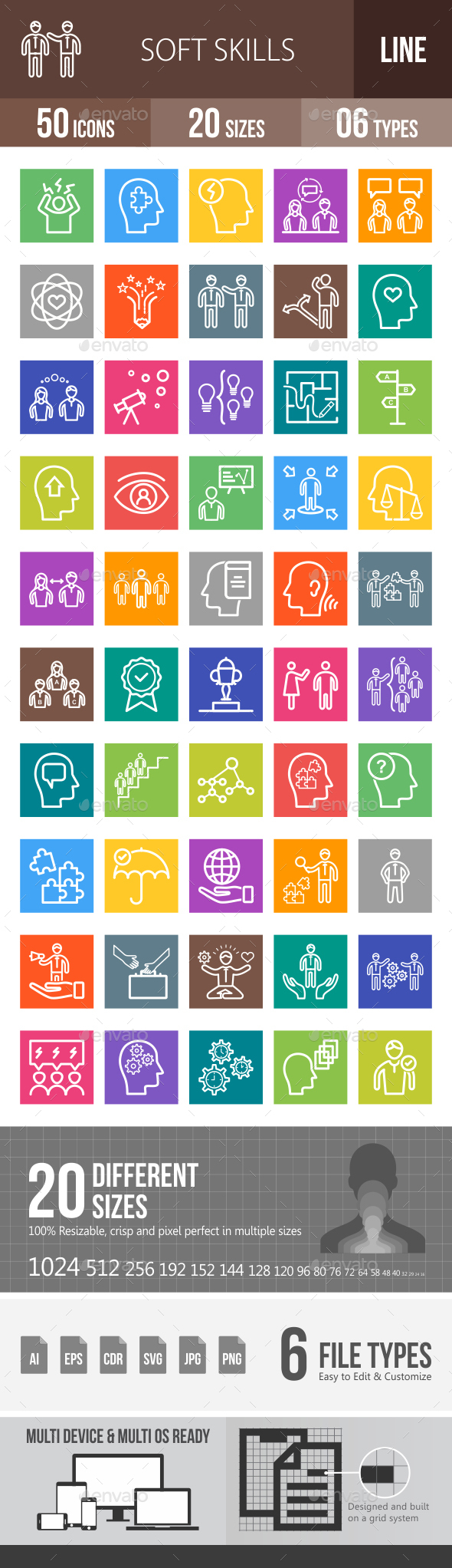 Soft Skills Line Multicolor Icons - Icons