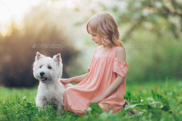 Little girl with a dog outdoors - Stock Photo - Images