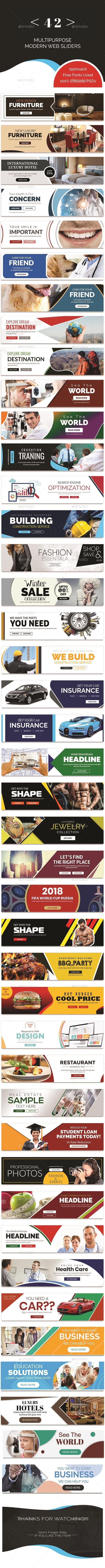 Multipurpose Web Sliders Pack - 42 Designs - Banners & Ads Web Elements