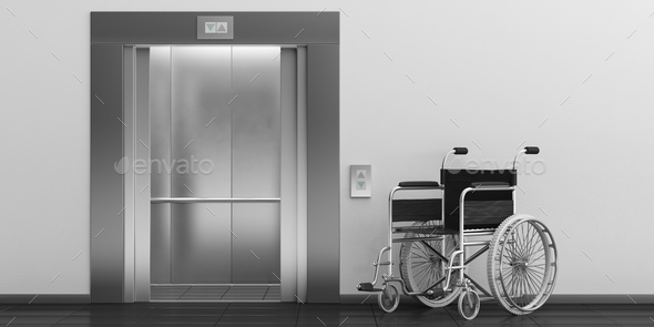 Wheelchair empty and elevator with open doors. 3d illustration - Stock Photo - Images