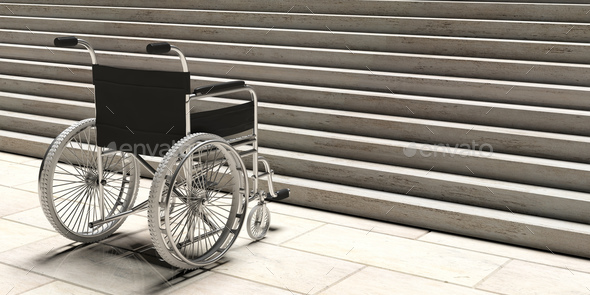 Wheelchair empty infront of concrete stairs. 3d illustration - Stock Photo - Images