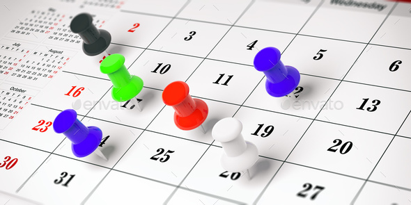 Colorful push pins, on a calendar background. 3d illustration. - Stock Photo - Images