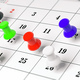 Colorful push pins, on a calendar background. 3d illustration. - PhotoDune Item for Sale