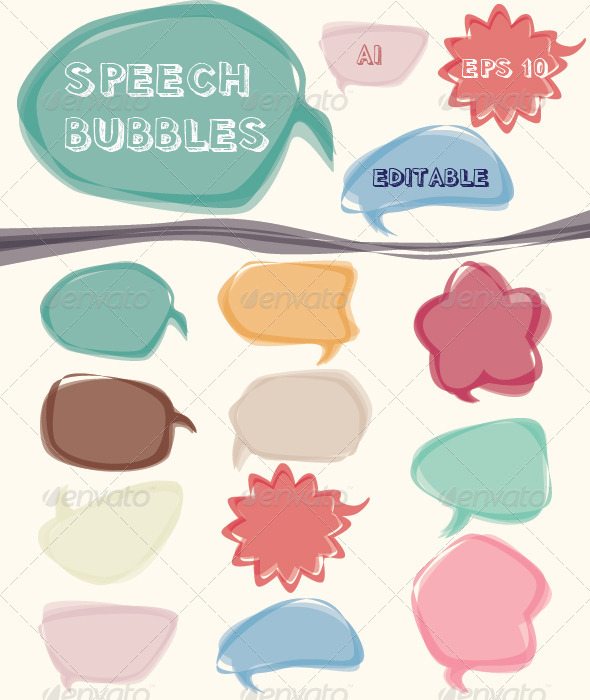 Colorful Speech Bubbles Vector Set  - Decorative Symbols Decorative