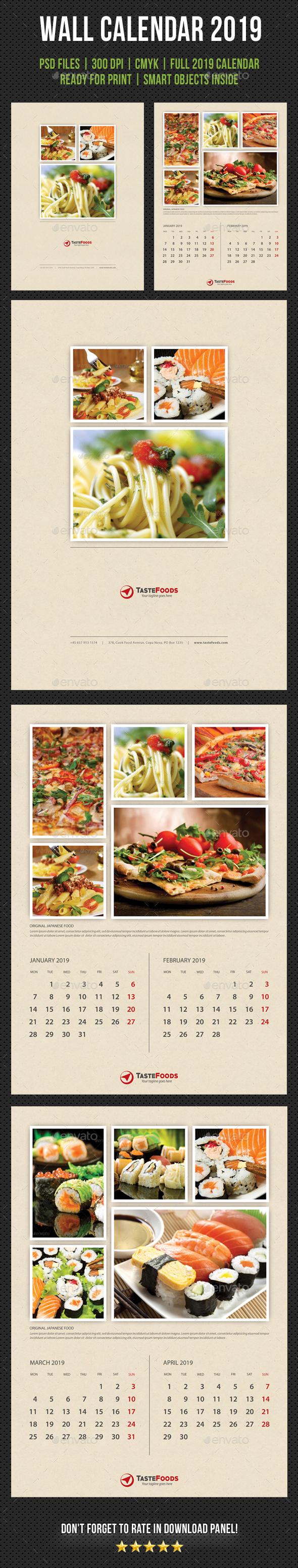 Cook And Food Wall Calendar 2019 V02 - Calendars Stationery
