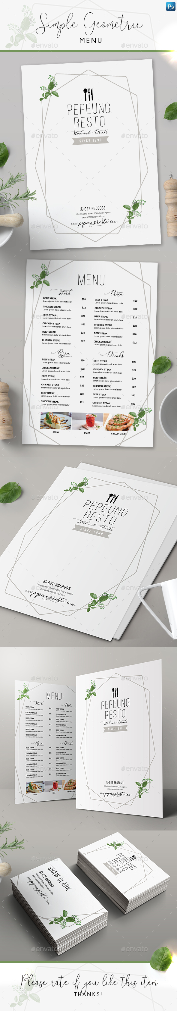 Simple Geometric Menu + Business Card - Food Menus Print Templates