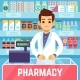 Happy Young Man Pharmacist Sells Medications in