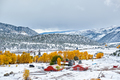 Season changing, first snow and autumn trees - PhotoDune Item for Sale