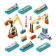 Isometric Ships Cranes and Sea Port Building - GraphicRiver Item for Sale