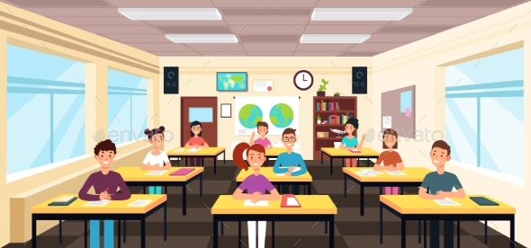 Pupils Study in Classroom Interior - People Characters