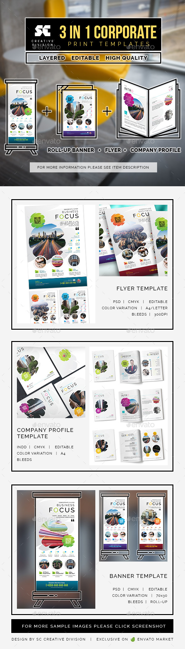 Corporate Bundle 3 In 1 - Miscellaneous Print Templates